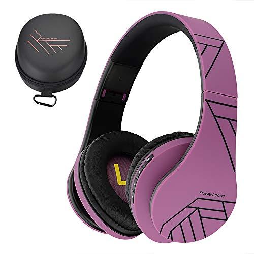 PowerLocus Casque Bluetooth sans Fil, Casque Audio stéréo Pliable sans Fil et Filaire avec Micro intégré, Micro SD/TF, FM pour iPhone/Wiko/Samsung/iPad/PC (Noir/Violet)