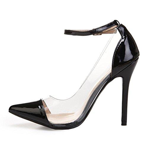 La Modeuse Escarpins Stiletto en Simili Cuir Vernis avec Empiècement Transparent Sur les Cotés Noir