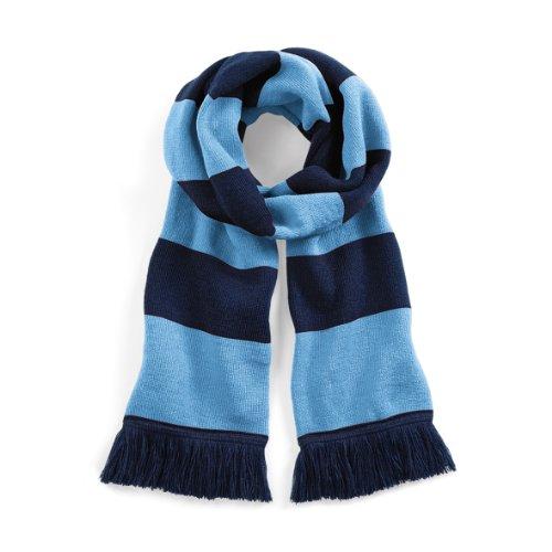 Beechfield - Écharpe rayée tricotée - Adulte unisexe Bleu marine/Bleu ciel