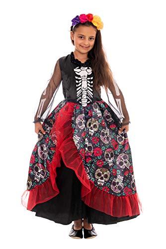 Kinder Vampir Mädchen Kostüm - Magicoo mexikanisches Skelettkostüm Kinder Mädchen inkl. Kleid & Haarreifen - Gr 110 - 140 - Halloween Skelett Vampir Kostüm Kind (134/140)