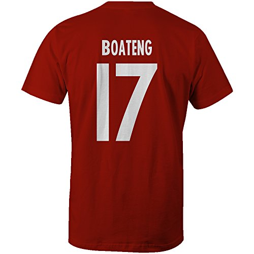 Jerome Boateng 17 Club Player Style Kids T-Shirt Red/White, Small Boys (5-6yrs)