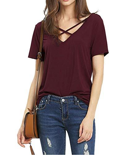 Suimiki Damen Sommer Kurzarm T-Shirt V-Ausschnitt mit Schnürung Vorne Oberteil Tops Bluse Shirt (M, Rot)