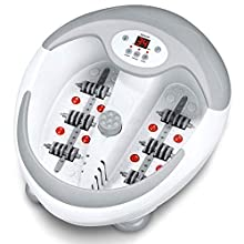 Beurer FB50 foot spa with heater   Foot massager with infrared light and magnetic therapy   3 pedicure attachments   5-level water heater   Foot bath with vibration, bubble, and reflexology massage