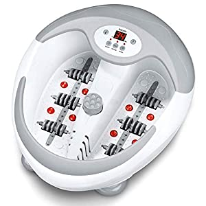 Beurer FB50 foot spa with heater | Foot massager with infrared light and magnetic therapy | 3 pedicure attachments | 5-level water heater | Foot bath with vibration, bubble, and reflexology massage