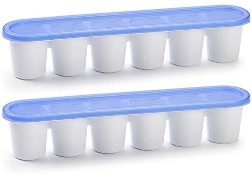 idea-station Eiswürfelform, 2 Stück, mit Deckel, stapelbar auch als Eiswürfelbox, Eisform, Eiswürfelbehälter, Eiswürfelschale einsetzbar, spülmaschinenfest auch zum Einfrieren von Babynahrung geeignet