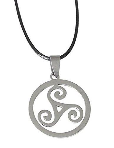 Collar, medallón colgante triskel espirales