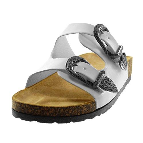 Angkorly Scarpe Moda Sandali Mules Slip-On Donna Fibbia Metallico Sughero Tacco Tacco Piatto 2.5 cm Bianco