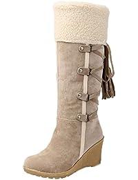 Minetom Mujer Invierno Boots Calentar Botas De Nieve Skidproof Felpa Algodón Acolchado Cuña Zapatos
