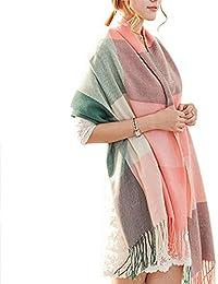 Demarkt Femme Longue Écharpe Châle Souple Couleur Unie Belle Elégant Écharpe Accessoire Pour Automne Hiver - Vert Rose
