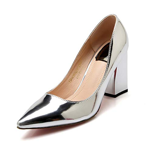 Rngtaqubeic Thick with Pumps Sexy Patent Leather High Shoes Golden Silver Brown Plus Size 33-43 New Spring Asakuchi Pumps Cheap Silver Pumps 7