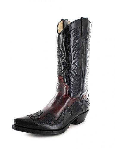 Sendra Boots 3241 Negro Rojo/ Damen und Herren Westernstiefel Schwarz/ Cowboystiefel Rot/ Damenstiefel/ Herrenstiefel, Groesse:45 (Rot Leder Cowboy-stiefel)