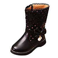 zhenghewyh Girls Winter Ankle Boots Water Resistance Zipper Closure