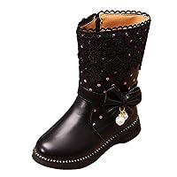 zhenghewyh Girls Winter Ankle Boots Water Resistance Zipper Closure