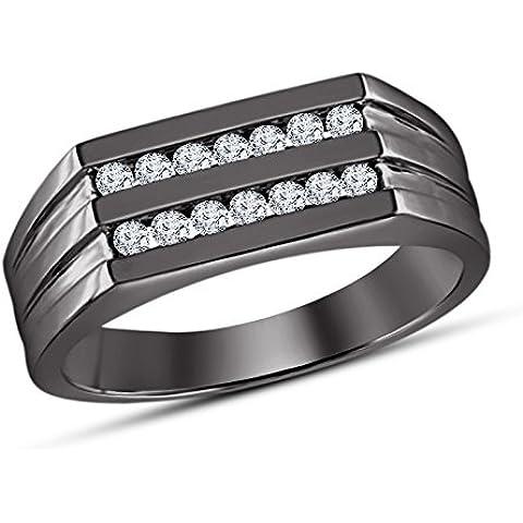 Vorra Fashion 0.87ct Due Row Taglio Rotondo Cz Anello A Fascia da uomo in argento 925placcato rodio nero - 5 Row Band Ring
