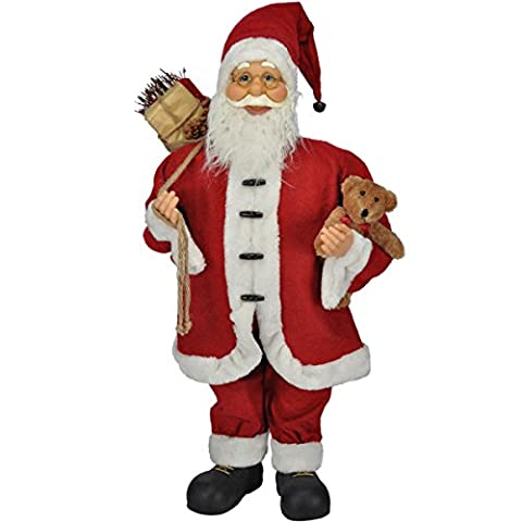 Stehender Weihnachtsmann mit Sack und Teddybör, 80 cm, rot: Figur Dekoration Weihnachten Dekofigur Santa Clause