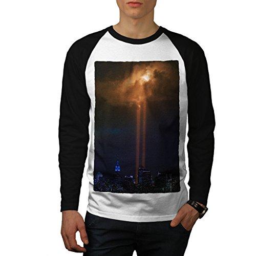 wellcoda Mond Stadt Nacht Mode Männer M Baseball LS T-Shirt