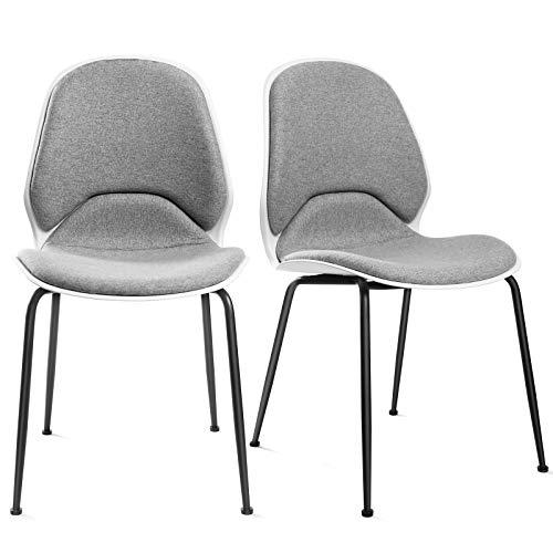 Songmics set di 2 sedie da pranzo, sedie da cucina moderne, sedie imbottite in tessuto misto cotone-lino con gambe in ferro, grigio chiaro ldc55wg