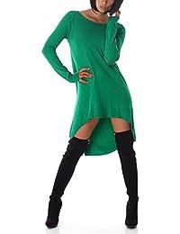 Jela London Damen Vokuhila Oversize Wellness-Pullover Longpulli Pullikleid m. Rücken-Dekolleté (Einheitsgröße 34 36 38)