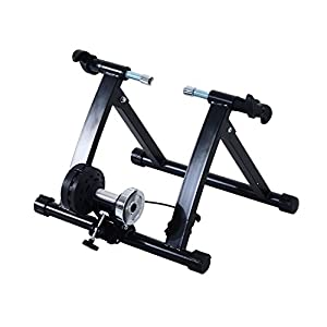 HOMCOM Rodillo Entrenamiento Bicicleta Color Negro Acero cicloentrenador Bici con Cable de Resistencia 5