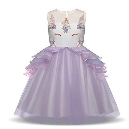 Pretty Princess Mädchen Kinder Einhorn Cosplay Lila Prinzessin Kleid ärmellose Tüll Rüschen Tutu Halloween Kostüm mit Stirnband 7-8 jahre