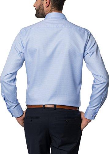ETERNA Langarm Hemd MODERN FIT Fantasiebindung strukturiert Blau