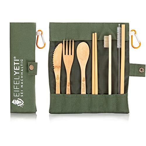 EifelYeti Bambus Reisebesteckset in funktionaler Tasche mit Karabiner - Oliv grün - wiederverwendbar - Gabel, Messer, Löffel, Strohhalm & Zahnbürste