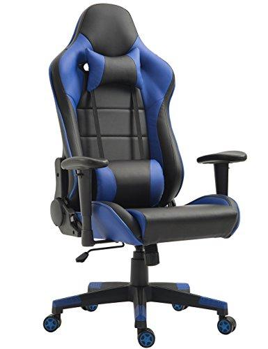Tiigo Racing Silla Gaming Silla Ergonómica Silla de PC Gamer (Negro/Azul)