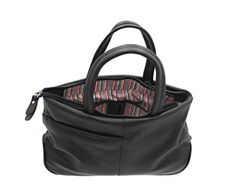 Mala en cuir souple AZURE Collection Grab Bag en cuir avec bandoulière 783_81 Magenta noir