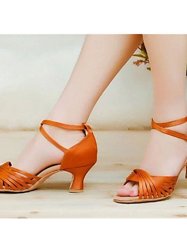 shangyi pas personnalisables–talon compensé–femme–satin–Latin Orange - orange