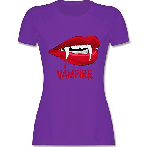 Halloween - Vampire Blut - tailliertes Premium T-Shirt mit Rundhalsausschnitt für Damen Lila