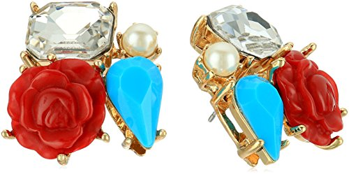 betsey-johnson-rose-and-stone-cluster-button-stud-earrings