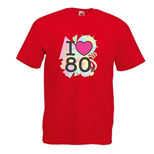 Männer T-Shirt Ich liebe 80er Konzert t-shirts Weinlese Kleidungs Musik t-shirts geschenke (Medium Rot Mehrfarben) (Kostüm Ideen Für Die 2 Besten Freunde)