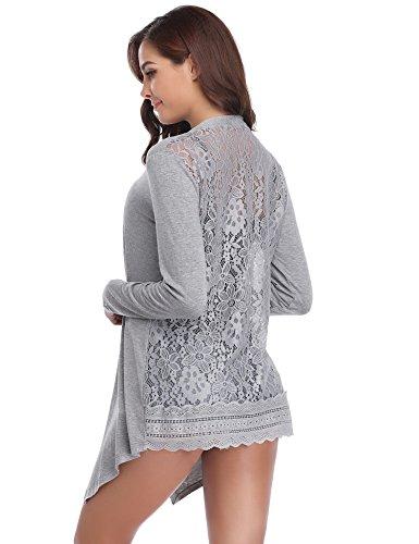 Abollria Damen Lang Cardigan Leichte Offene Jacke mit Spitze Rücken Elegante Festliche Strickjacke für Sommer Grau, L
