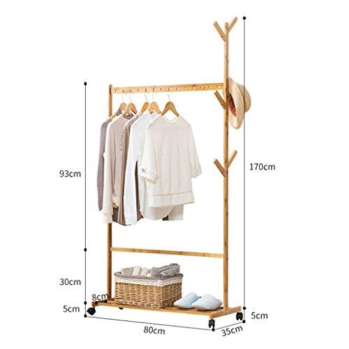 Kleiderablage ZCJB Aufhänger Floorstanding Garderobe Schlafzimmer Massivholz Kleiderbügel Moderne Move Regal Montage Einfache Kleiderbügel (größe : 80cm)