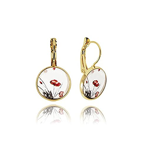 White poppy gold classic earrings in gift box by Dragon Porter