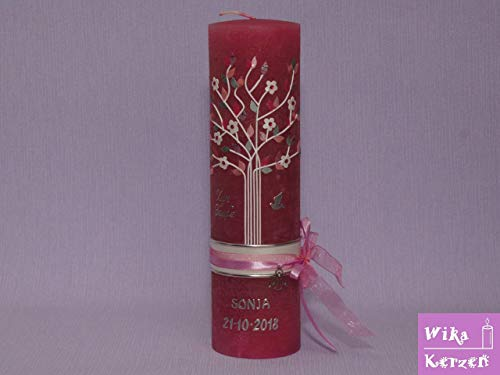 Vintage Taufkerze Kommunionkerze Lebensbaum mit Taube und Satin schleifenband Rosa 25x7 cm für...