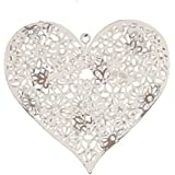 Painted Metal Daisy Heart Decoration - White Shabby Chic