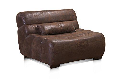 Cavadore Sessel Scoutano in Antiklederoptik / XXL-Sessel ohne Lehne im Industrial Design / Größe:...
