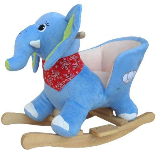 Schaukelpferd Schaukel Plüsch Schaukeltier Stuhl Sound Baby Kinder (Elefant 215115)