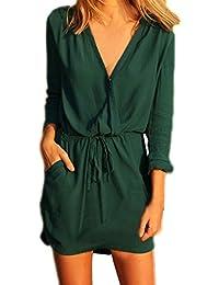 Vestiti Donna Eleganti Corti Casuale Giovane Abiti Estivi Autunnale Manica  Lunga Vestito V Neck Verde Elastico 311112da46c