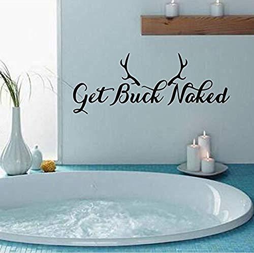 Holen Sie sich Buck Naked Words Wasserdichte Wandaufkleber, Für Badezimmer Wanddekorationen Selbst Tapete Aufkleber Home Word wandaufkleber. 61x22,9 cm