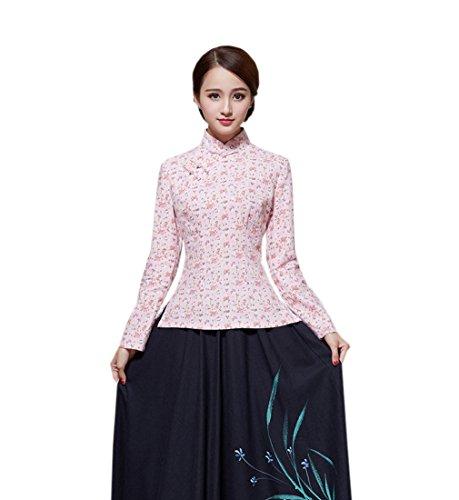 ACVIP Veste de Tang Blouse avec Manche Longue Motif Fleur en Coton de Chanvre pour Femme, Plusieurs Couleurs Couleur 8