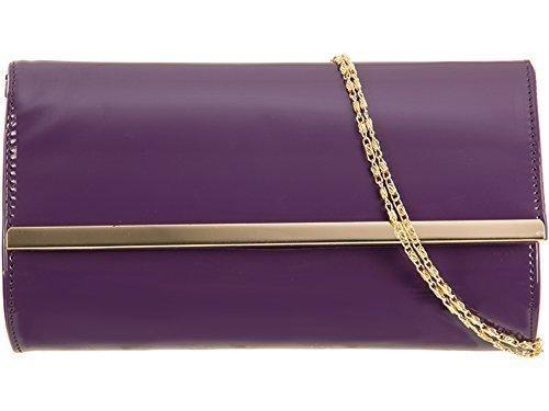 Haute Für Divas Damen Prominente Style Kunstlackleder Gold Trimm Party Abschlussabend Braut Hochzeit Abend Handtasche Clutch - Schwarz Lila