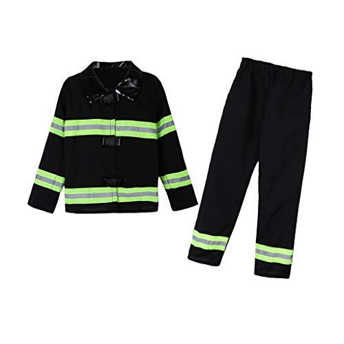 Baoblaze Kinder Feuerwehrmann Kostüm Jungen Mädchen Feuerwehr Halloween Kinderkostüm Outfit Set - (Feuerwehrmann Mädchen Halloween Kostüm)