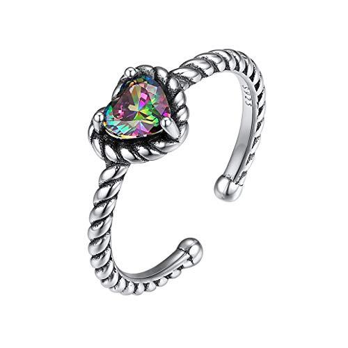 Silvora 925 Sterling Silber Bunter Stein Ring, Mode Bärentatze/Biene/herzförmiger Sterling Silber Ring, S925 Vorzüglicher Ring für Frauen/Mädchen/Damen