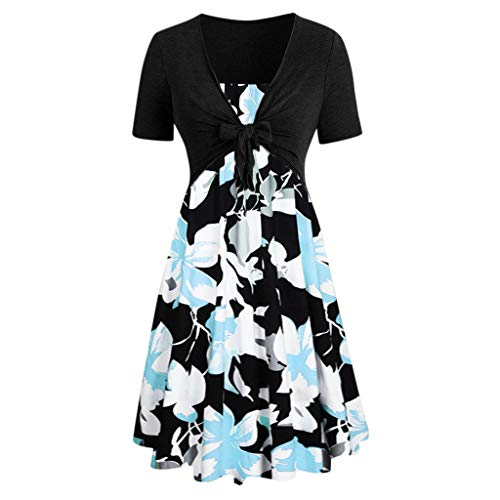 Damen Print Minikleid, Sumeiwilly Mode Kurzarm Bogen Knoten Verband Top Sunflower Print Minikleid T-Shirt lose Boho Faltenrock Partykleid Abendkleid Blumen Muster ()