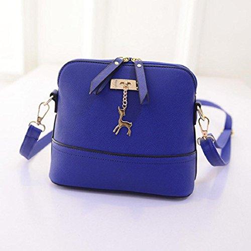 Saingace Neue Frauen-Kurier-Beutel-Weinlese-kleine Shell-lederne Handtaschen-beiläufige Tasche Handtaschen Schultertasche Freizeitrucksack Tasche Rucksäcke Blau