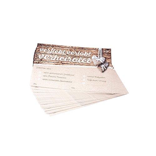 """Preisvergleich Produktbild Ballonkarten """"Gutschein"""" in Holzoptik, 50 St. Vorteilsset - - besondere Flugkarten für Ihre Hochzeitsballons als Gutschein für das Brautpaar"""