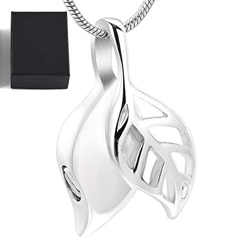 WANZIJING Urne Halskette für Asche Anhänger, Edelstahl Blatt Memorial Urne Halskette Halter Asche Andenken Feuerbestattung Schmuck Botschaft Blättern