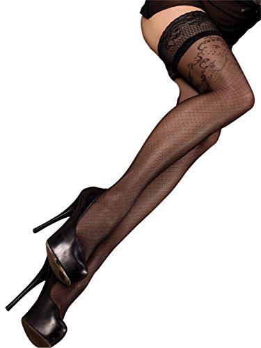 Ballerina Halterlose Damen-Strümpfe, schwarz, 20 DEN, mit Muster Größen Large/X-Large